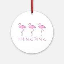 Breast cancer flamingo Ornament (Round)