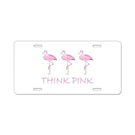 Breast cancer flamingo Aluminum License Plate