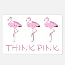 Breast cancer flamingo Postcards (Package of 8)