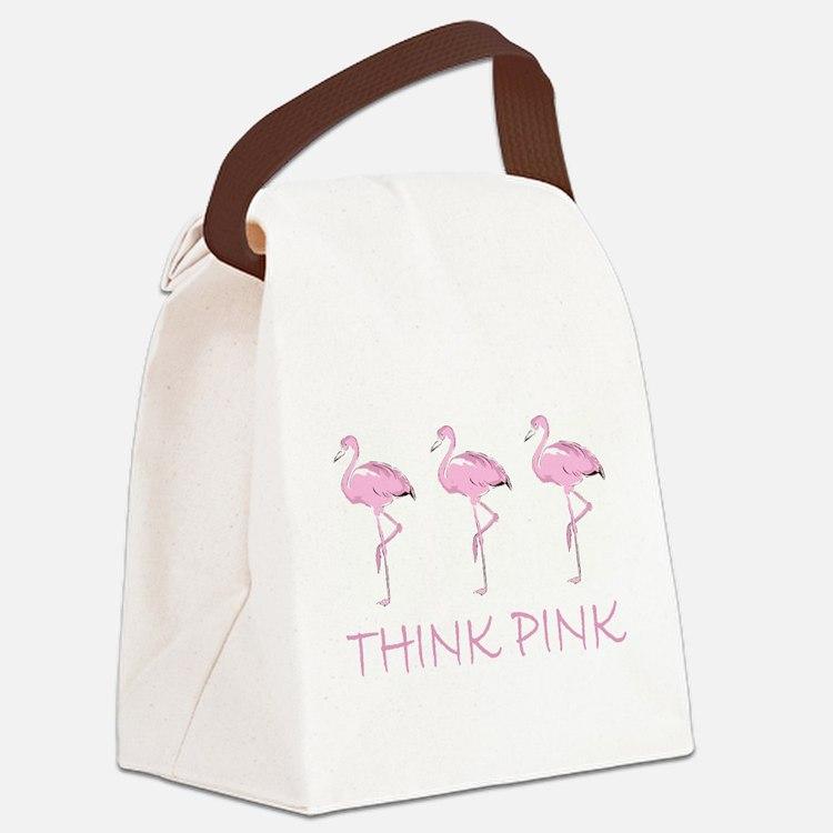 Breast cancer flamingo Canvas Lunch Bag