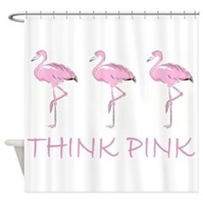 Breast cancer flamingo Shower Curtain