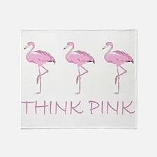 Breast cancer flamingo Throw Blanket