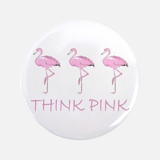 "Breast cancer flamingo 3.5"" Button"