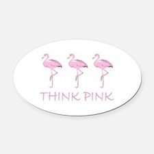 Breast cancer flamingo Oval Car Magnet