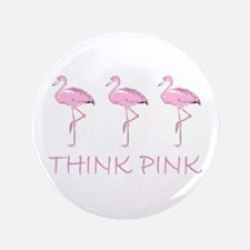"""Breast cancer flamingo 3.5"""" Button (100 pack)"""