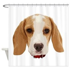 Beagle Face 001 Shower Curtain