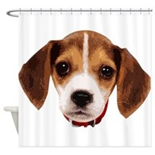 Beagle face 002 Shower Curtain