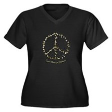 Give Bees A Chance Women's Plus Size V-Neck Dark T
