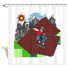 blockcraft city skater Shower Curtain