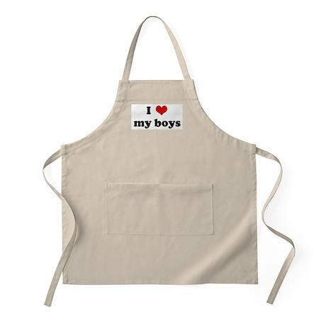 I Love my boys BBQ Apron