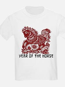 Chinese Zodiac Paper Cut Horse T-Shirt