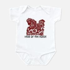 Chinese Zodiac Paper Cut Horse Infant Bodysuit