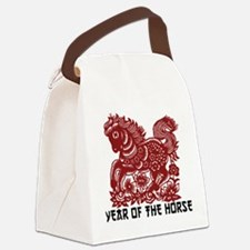Chinese Zodiac Paper Cut Horse Canvas Lunch Bag