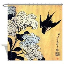 Hydrangea and swallow by Hokusai Shower Curtain
