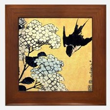 Hydrangea and swallow by Hokusai Framed Tile
