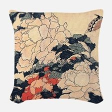 Poenies and butterfly by Hokusai Woven Throw Pillo
