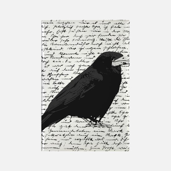 Black crow on Rectangle Magnet
