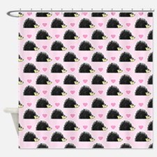 Cute Happy Hedgehog Pattern Pink Shower Curtain