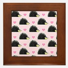 Cute Happy Hedgehog Love Pattern in Pink Framed Ti