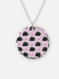 Cute Happy Hedgehog Love Pattern in Pink Necklace