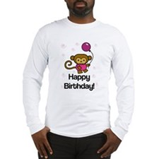 Happy Birthday Monkey Long Sleeve T-Shirt