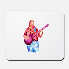 female bass player watercolor Mousepad