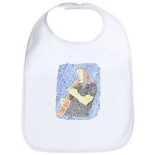 acoustic guitar male player made from words Bib