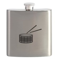 black snare graphic with sticks Flask