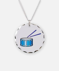 blue snare graphic with sticks Necklace