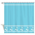 Turquoise Music Notes Shower Curtain