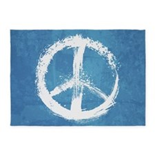 Grunge Peace Sign 5'x7'Area Rug