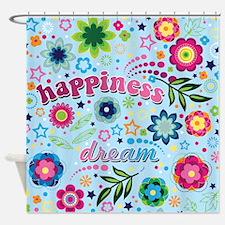 Flower Child Retro Happiness Shower Curtain
