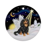 Black and tan cavalier king charles with wings Round Ornaments