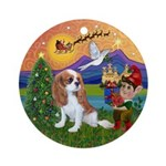 XFantasy-Blenheim Cavalier Puppy Ornament (Round)