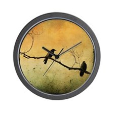 Two Crows On A Branch Wall Clock