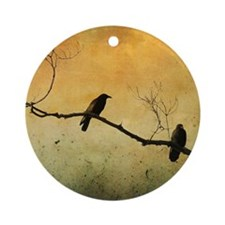 Two Crows On A Branch Round Ornament