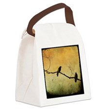 Two Crows On A Branch Canvas Lunch Bag