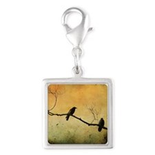 Two Crows On A Branch Silver Square Charm