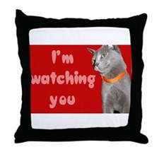 Watching you cat Throw Pillow