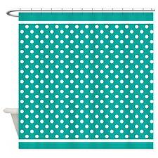 Cute Teal Polka Dots Shower Curtain