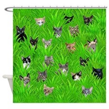 Cats in Grass Shower Curtain