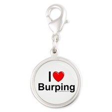 Burping Silver Round Charm
