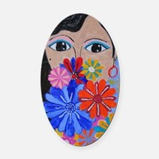 Smell the Flowers Oval Car Magnet