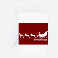 "Doberman ""Sleigh"" Greeting Cards"