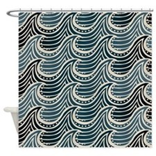 Teal Ocean Wave Pattern Shower Curtain