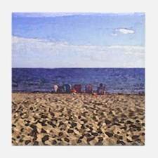 Cape Cod Beach Scene painted photo Tile Coaster