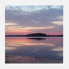 Sunset ov er Cape Cod Bay Tile Coaster