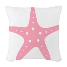 Pink Starfish Woven Throw Pillow