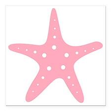 "Pink Starfish Square Car Magnet 3"" x 3"""