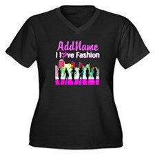 NYC COUTURE Women's Plus Size V-Neck Dark T-Shirt